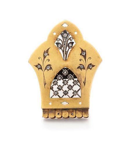 * An Antique 18 Karat Yellow Gold, Silver and Diamond Brooch, 5.60 dwts.