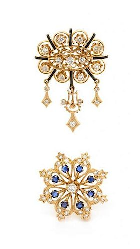 A Collection of 14 Karat Yellow Gold, Diamond, Sapphire and Enamel Pendant/Brooches, K. Goldschmidt Jewelers, 4.80 dwts.