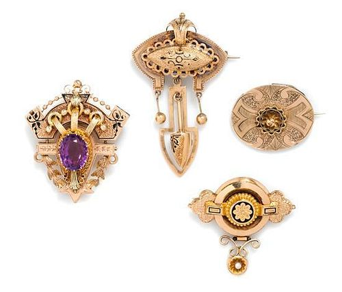 * A Collection of Victorian, Amethyst and Enamel Brooches, 4.70 dwts.