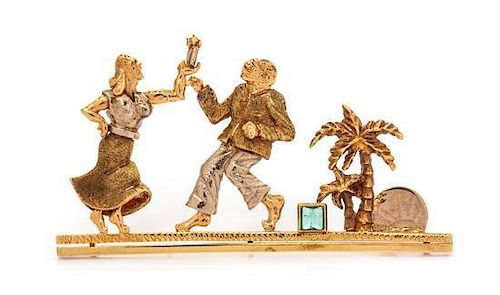 An 18 Karat Tricolor Gold and Emerald Figural Brooch, 9.00 dwts.
