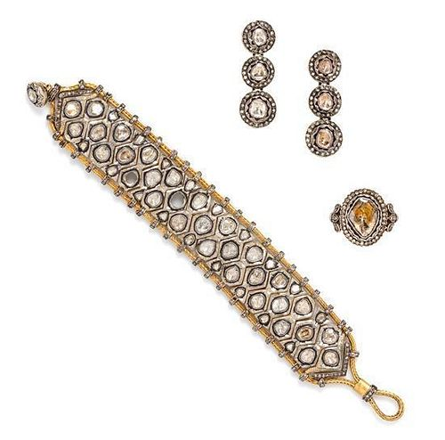 A Gilt Silver, Yellow Gold and Diamond Demi Parure, Indian, 47.30 dwts.