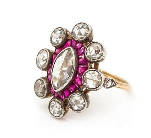 A Silver Topped Yellow Gold, Diamond and Ruby Ring, 4.60 dwts.