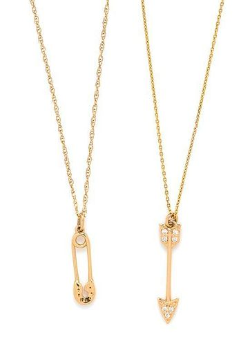 * A Collection of Yellow Gold and Diamond Pendants, 2.35 dwts.