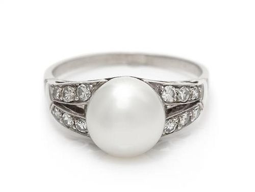 A Platinum, Diamond and Cultured Pearl Ring, 4.50 dwts.