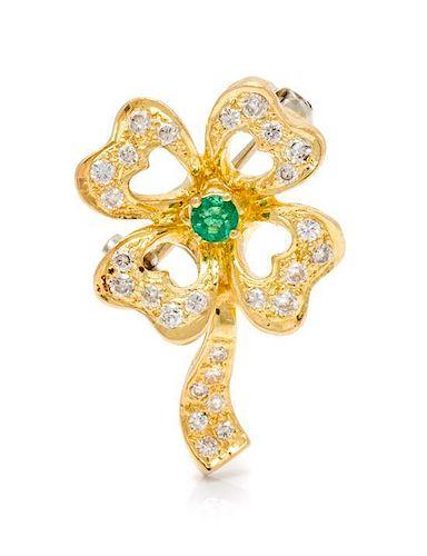 * An 18 Karat Yellow Gold, Emerald and Diamond Four Leaf Clover Brooch, Italian, 4.00 dwts.