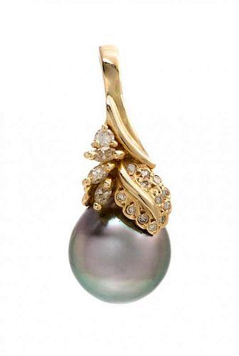 A 14 Karat Yellow Gold, Cultured Tahitian Pearl and Diamond Pendant, 4.60 dwts.