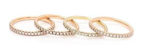 A Collection of 18 Karat Gold and Diamond Eternity Bands, Sam Lehr, 4.00 dwts.