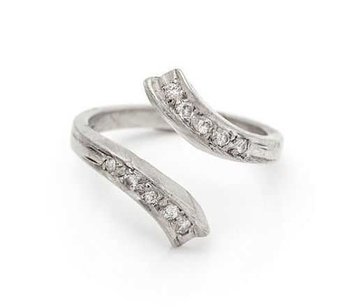 A Platinum and Diamond Bypass Ring, 2.90 dwts.
