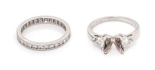 A Collection of Platinum and Diamond Rings, 4.90 dwts.
