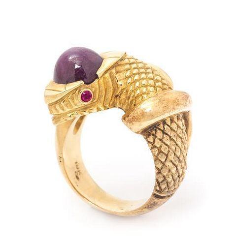 An 18 Karat Yellow Gold, Star Ruby and Ruby Serpent Motif Ring, 20.55 dwts.