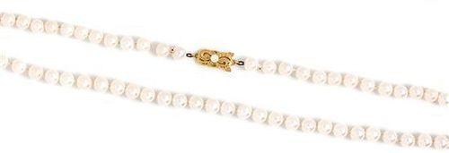 An 18 Karat Yellow Gold and Cultured Pearl Necklace, Mikimoto,