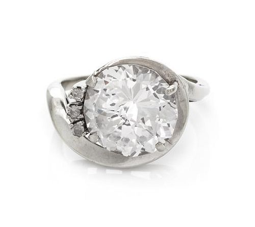 A White Gold and Synthetic White Sapphire Ring,