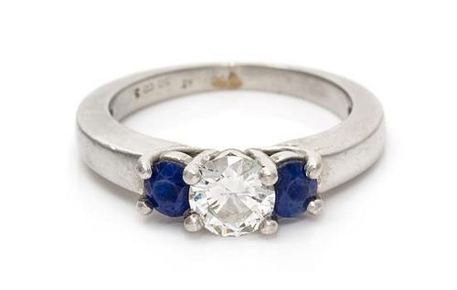 A Platinum, Diamond and Sapphire Ring, 7.90 dwts.