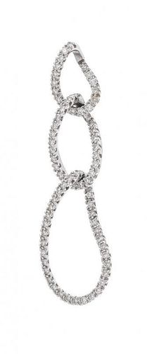 A 14 Karat White Gold and Diamond Pendant, 2.10 dwts.