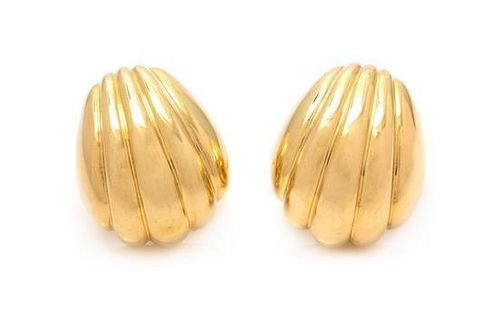 * A Pair of 18 Karat Yellow Gold Domed Earclips, 23.20 dwts.