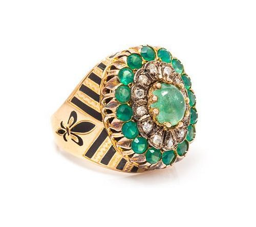 A Rose Gold, Silver, Emerald, Diamond and Enamel Ring, 8.30 dwts.
