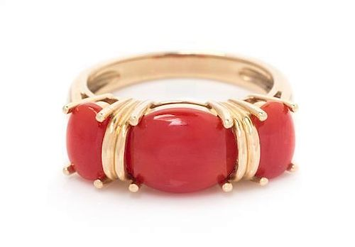 A 14 Karat Yellow Gold and Coral Ring, 3.10 dwts.