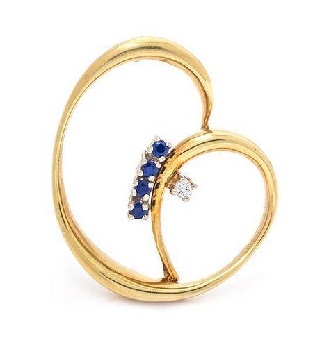 An 18 Karat Yellow Gold, Diamond and Sapphire Swirl Brooch, 8.30 dwts.