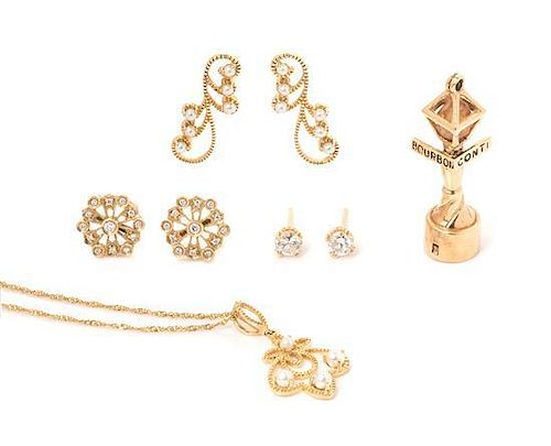 * A Collection of Yellow Gold, Diamond and Cultured Pearl Jewelry, 8.10 dwts.
