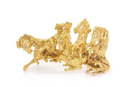 A Yellow Gold and Diamond Horse Motif Brooch, 13.10 dwts.