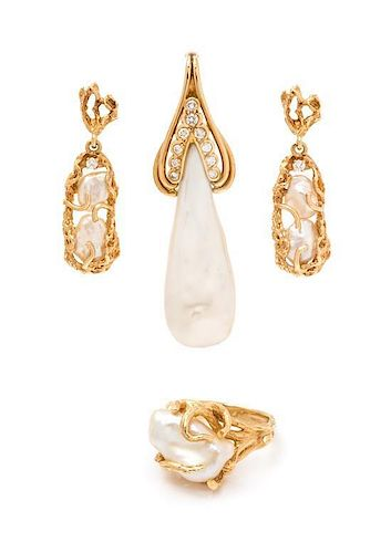 A Collection of 14 Karat Yellow Gold, Diamond and Cultured Baroque Pearl Jewelry, 14.60 dwts.
