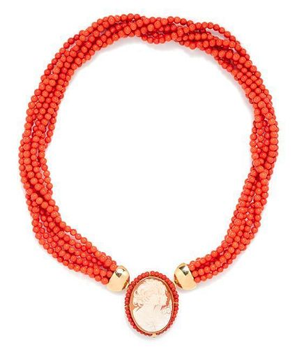 An 18 Karat Yellow Gold, Coral and Shell Cameo Convertible Pendant/Brooch Torsade Necklace,