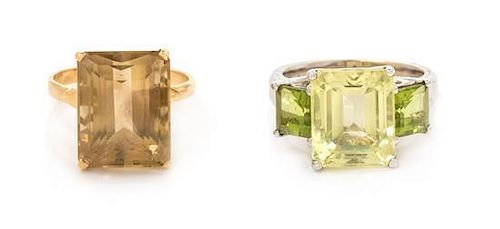 * A Collection of Gold and Gemstone Rings, 8.40 dwts.