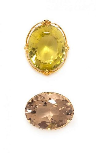 * A Collection of 14 Karat Yellow Gold and Quartz Brooches, 48.30 dwts.