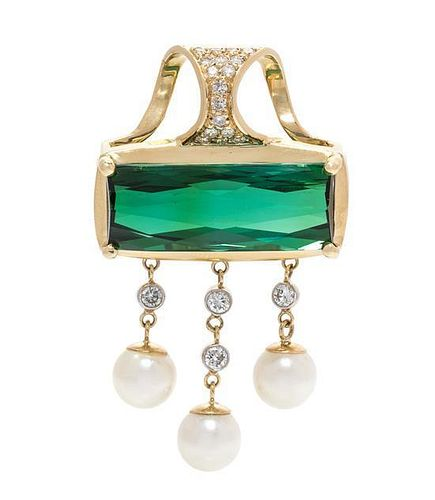 A Yellow Gold, Green Tourmaline, Diamond and Cultured Pearl Pendant, 11.10 dwts.