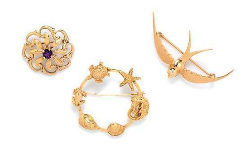 A Collection of Yellow Gold Brooches, 13.70 dwts.
