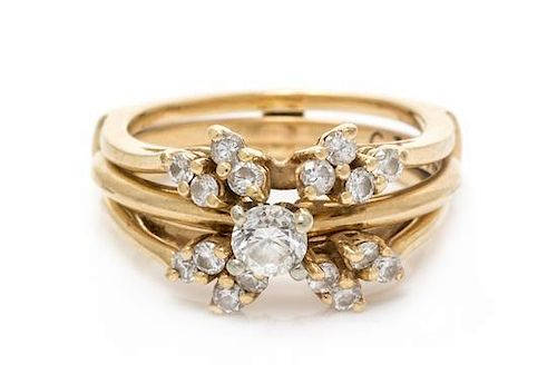 A 14 Karat Yellow Gold and Diamond Ring and Jacket, 5.40 dwts.
