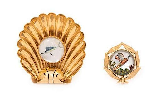 A Collection of 14 Karat Yellow Gold and Essex Crystal Brooches, 8.90 dwts.