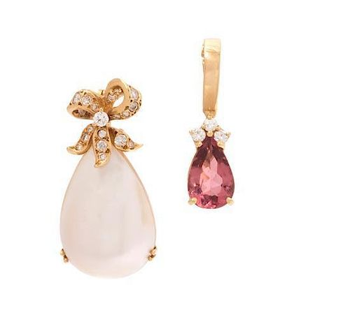 * A Collection of Yellow Gold, Diamond and Gemstone Pendants, 5.60 dwts.