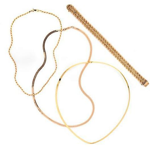 * A Collection of Yellow Gold Jewelry, 36.10 dwts.