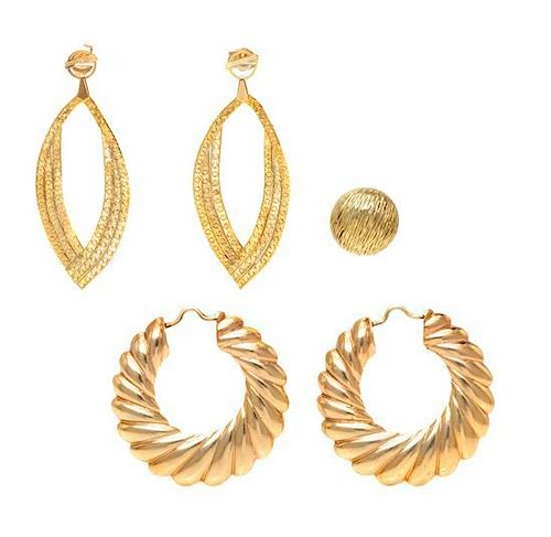 * A Collection of Yellow Gold Jewelry, 10.50 dwts.