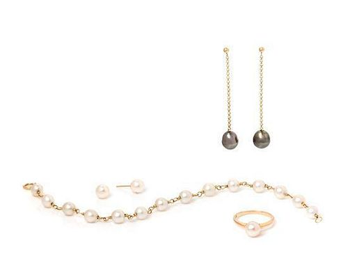 * A Collection of 14 Karat Yellow Gold and Cultured Pearl Jewelry,