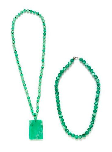 A Collection of Jade Bead Necklaces,