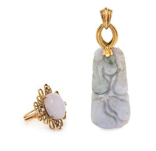 A Collection of 14 Karat Yellow Gold, Lavender Jade and Diamond Jewelry, 19.30 dwts.