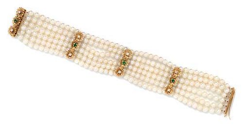 * A Yellow Gold, Diamond, Emerald and Cultured Pearl Multistrand Bracelet, 21.10 dwts.