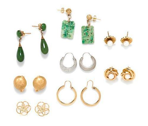 * A Collection of 14 Karat Gold and Gemstone Earrings, 15.70 dwts.