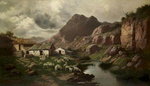 CALIFANO, John. Oil on Canvas. Flock of Sheep in