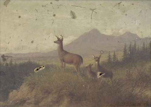 HINCKLEY, Thomas H. Oil on Canvas. Deer in
