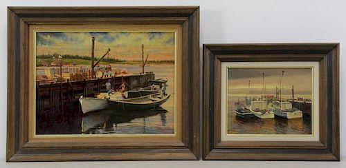 CRILLEY, Joseph. Two Oils on Board. Marine Scenes.