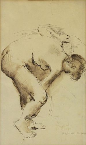 SOYER, Raphael. Ink on Paper. Nude Study.