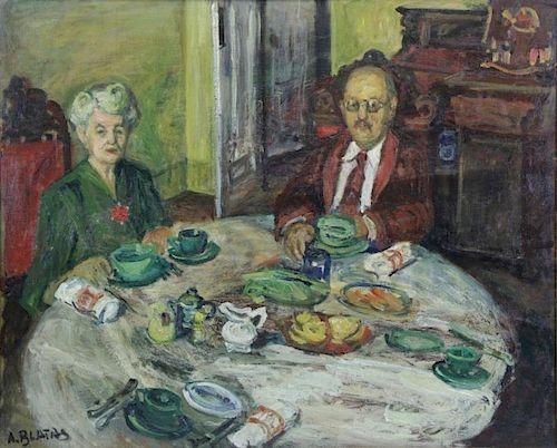 BLATAS, Arbit. Oil on Canvas. Afternoon Tea.