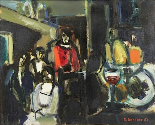 BONNAUD, Michael. Oil on Canvas. Cafe Scene, 1963.