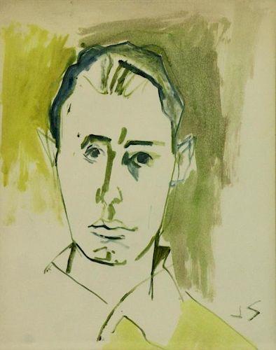 SOLMAN, Joseph. Watercolor. Portrait of a Man.