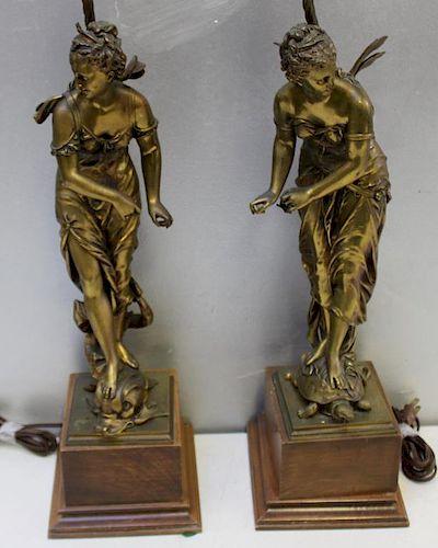 BOURET, Eutrope. Two Bronze Sculptures Mounted