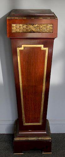 Art Deco Bronze Mounted Mahogany Pedestal.