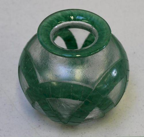 DEGUE, Signed Acid Etched Green Glass Vase.